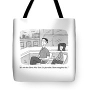 A Man Speaks To A Woman On A Balcony In The City Tote Bag