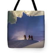 A Man Stands At The Entrance Of An Ice Tote Bag