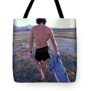 A Man Takes Off His Clothes And Walks Tote Bag