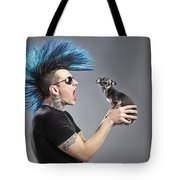 A Man With A Blue Mohawk Yells At His Tote Bag