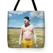 A Mans Face Covered In Clay Mud Tote Bag