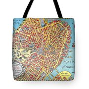 A Map Of Old Boston In The Commonwealth Of Massachusetts Tote Bag