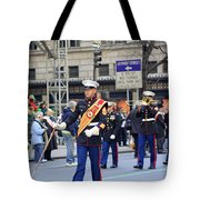 A Marine Band Marching In The 2009 New York St. Patrick Day Parade Tote Bag