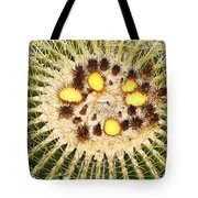 A Mexican Golden Barrel Cactus With Blossoms Tote Bag