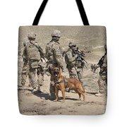 A Military Working Dog Accompanies U.s Tote Bag