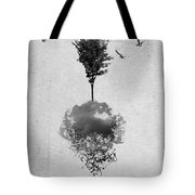 Tree Birds Clouds Abstract Paint Drips Tote Bag