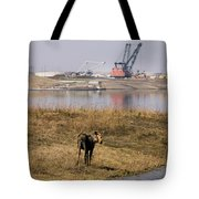 A Moose Walks On The On Reclaimed Land Tote Bag