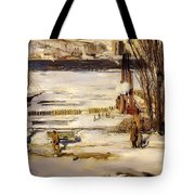 A Morning Snow On The Hudson River Tote Bag