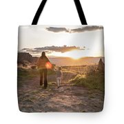 A Mother And Child Hike At Sunset Tote Bag