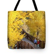 A Mother And Daughter Walking Tote Bag