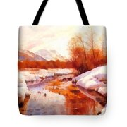 A Mountain Torrent In A Winter Landscape Tote Bag
