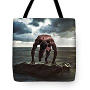 A Muscular Man In The Starting Position Tote Bag
