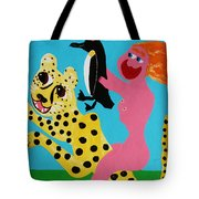 A Naked Woman Holding A Penguin Tote Bag