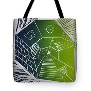 A New Dimension Blue And Green Linocut Tote Bag