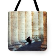 A Painting Alone Among The Vatican Columns Tote Bag