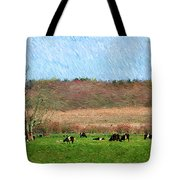A Painting Cows Grazing And Newport Bridge Tote Bag