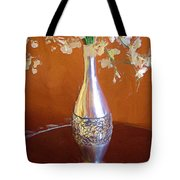 A Painting Silver Vase On Table Tote Bag