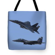 A Pair Of F-15c Eagle Aircraft Perform Tote Bag
