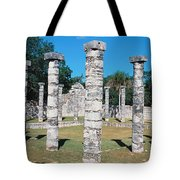 A Panoramic View Of Columns Surround Tote Bag
