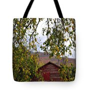 A Peak Of Fall Red Barn Tote Bag