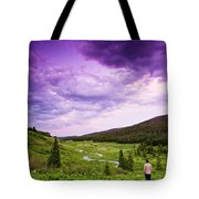 A Person Stand In A Field Watching Tote Bag