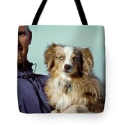 A Portrait Of A Man And A Dog Tote Bag