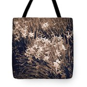 Clusters Of Daffodils In Sepia Tote Bag