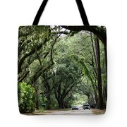 A Pretty Tree Covered Road Somewhere On Hilton Head Island Tote Bag