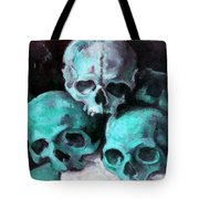 A Pyramid Of Skulls After Cezanne Tote Bag