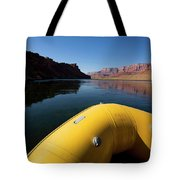 A Raft Floats Down A River Tote Bag