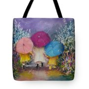 A Rainy Day Stroll With Mom Tote Bag