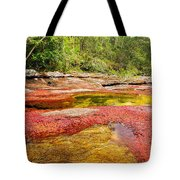 A Red And Yellow River In Colombia Tote Bag