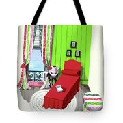 A Red Bed In A Bedroom Tote Bag