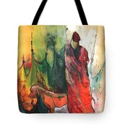 A Red Dog In Morocco Tote Bag
