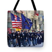 A Revolutionary Battalion Marching In The 2009 New York St. Patrick Day Parade Tote Bag