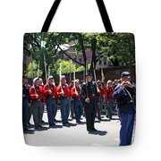 A Revolutionary Battalion Marching In The St. Patrick Old Cathedral Parade Tote Bag