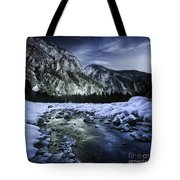 A River Flowing Through The Snowy Tote Bag