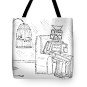 A Robot Sits Reading In A Chair Tote Bag