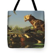 A Saber Tooth Cat Attacks A Woolly Tote Bag