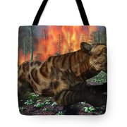 A Saber-toothed Tiger Running Away Tote Bag