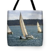 A Sailing Yacht Rounds A Buoy In A Close Sailing Race Tote Bag
