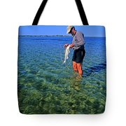 A Salt Water Fly Fisherman Catches Tote Bag