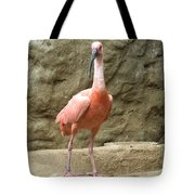 A Scarlet Ibis Stands Perched On A Rock Tote Bag