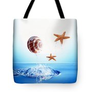 A Shell And Two Starfish Floating Tote Bag