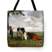 A Shepherdess With A Goat And Two Cows In A Meadow Tote Bag