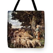 A Shepherdess With Her Flock Near A Stream Tote Bag