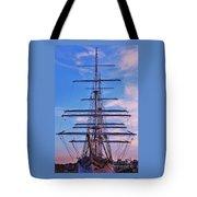 A Tall Ship At Sundown In Baltimore Tote Bag