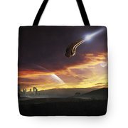 A Shuttle In The Process Of Landing Tote Bag