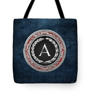 A - Silver Vintage Monogram On Blue Leather Tote Bag