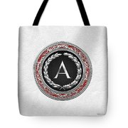 A - Silver Vintage Monogram On White Leather Tote Bag